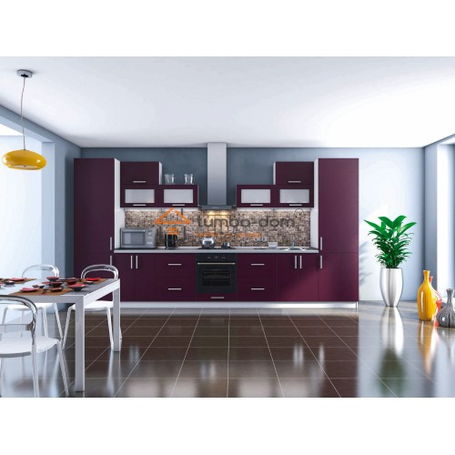 Кухня Элит Гарант в ярком фиолетовом цвете