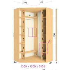 Угловой шкаф-купе 1300х1300х2400 СТАНДАРТ - 2 фасада