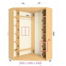 Угловой шкаф-купе 1500х1500х2400 СТАНДАРТ - 2 фасада