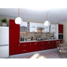 Кухня Гламур белый и красный металлик