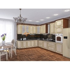 Кухня Платинум ясень золотая патина