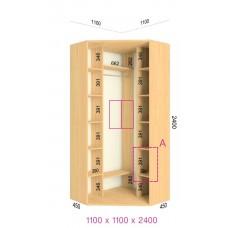 Угловой шкаф-купе 1100х1100х2400 СТАНДАРТ - 2 фасада
