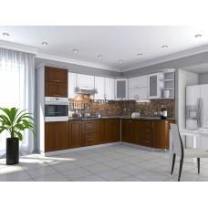 Кухня Квадрис белое дерево и кедр люкс