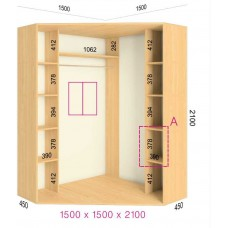 Угловой шкаф-купе 1500х1500х2100 СТАНДАРТ - 2 фасада