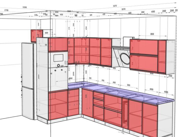Схема угловой кухни в которой холодильник расположен за пеналом, а мойка в угловой секции. Над холодильником расположился кухонный модуль с горизонтальным открытием. На схеме указаны все необходимые для заказа кухни размеры и параметры.